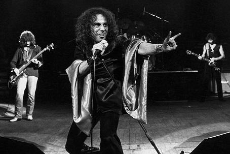 Dio, giving the horns in Black Sabbath circa early 80's...